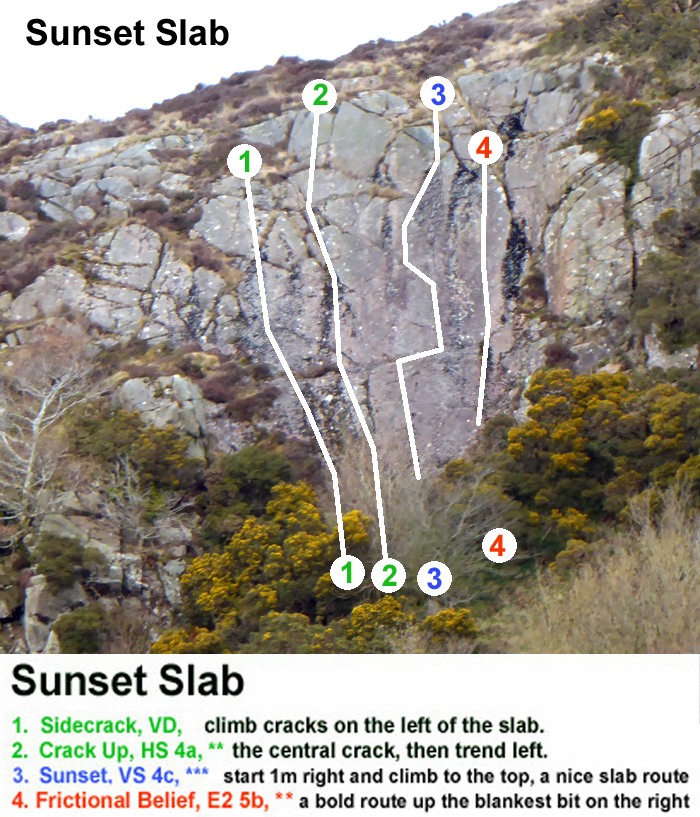 Clifton Crag, Dumfries, topo and route photo for Sunset Slab
