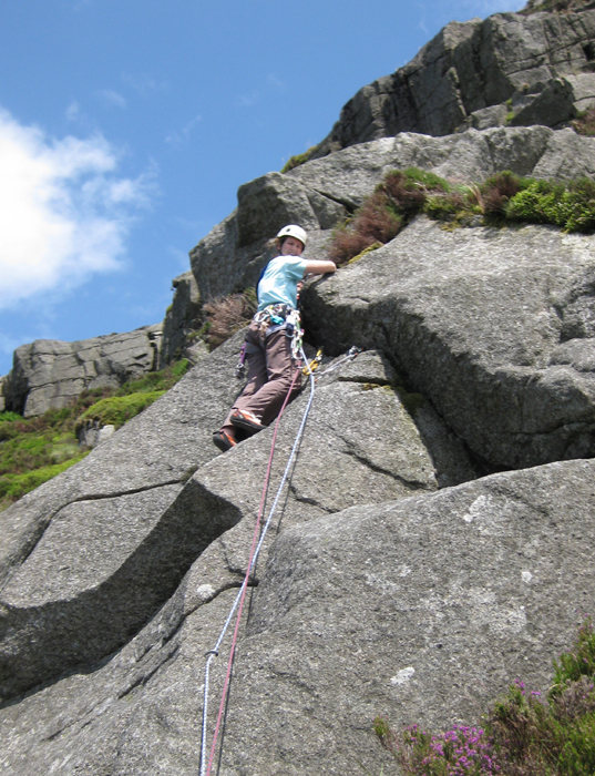 Linda Biggar on the crux slab of Blaeberry Buttress, HS**, during the first ascent July 2009.