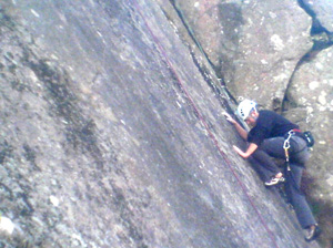 Ian Brown seconding on the first ascent of Frictional Belief, E1 5b,
