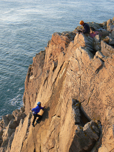 Sally Bennett on the crux moves of the very pleasant Razamatazz, HVS, Crammag Head, Mull of Galloway.