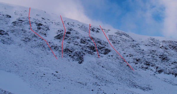 Picture courtesy of Cam Wheeler of new routes done by him at the north end of Corserine.