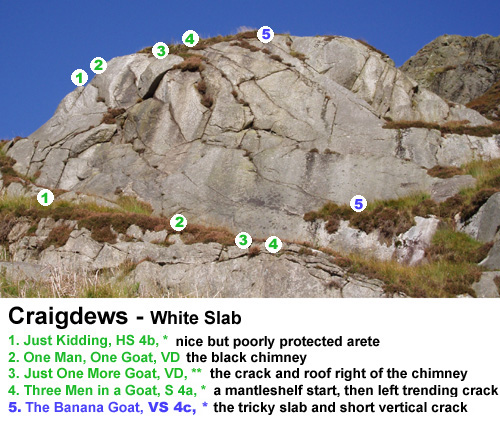 White Slab routes at Craigdews