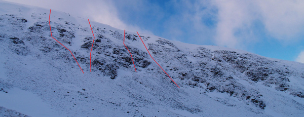 Some new lines at grade II and III were put up in the excellent winter of 2010 by Cam Wheeler.