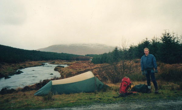 Galloway Hills in January 1989, camping by the River Dee.