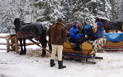 Ski mountaineering in Poland using a horse drawn sledge for access.