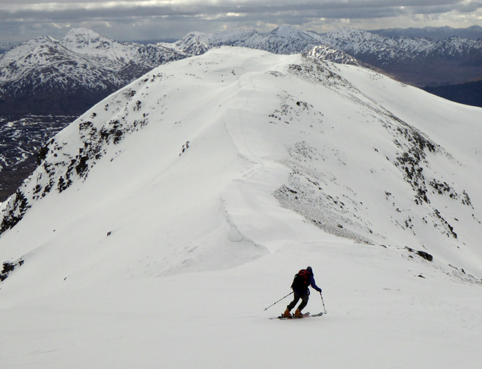 Skiing down the south ridge fo Ben Challum, March 2018.