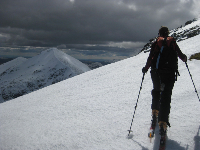 Skinning up towards the summit of Ben More, May 2015. The peak in the Background is Stob binnien, with the very nice NE face descent on the left.