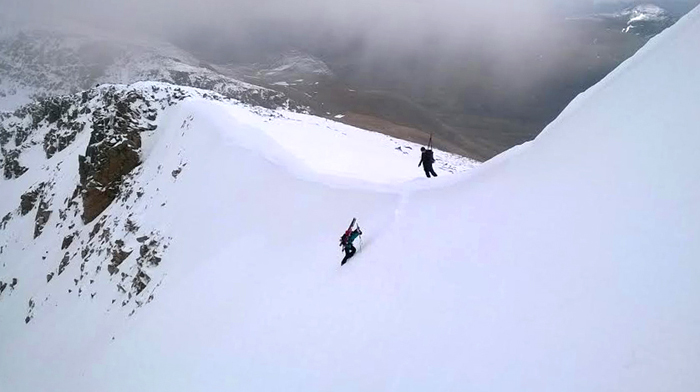Climbing the headwall of Coire Leis, Ben Nevis, Scotland.