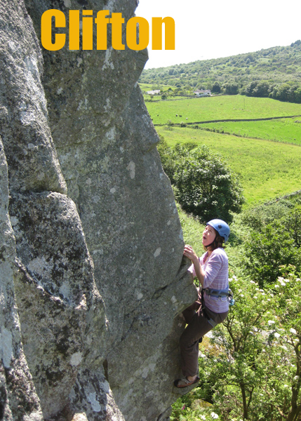 Rock climbing routes at Clifton Crag, Kirkcudbrightshire